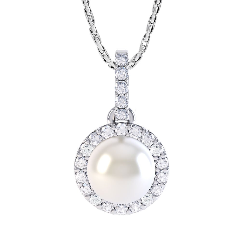 Venus Pearl and White Sapphire Halo 18ct White Gold Pendant (WHITE GOLD)