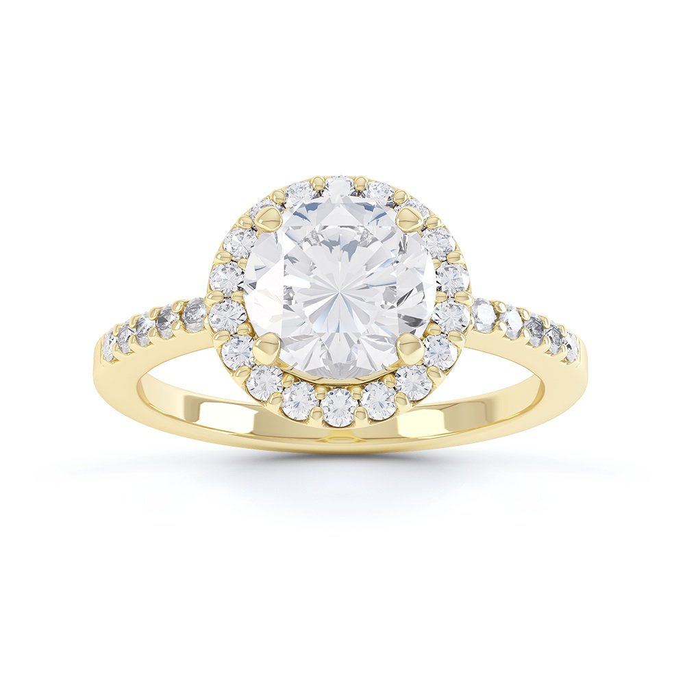 Eternity 1ct White Sapphire Halo 18ct Gold Vermeil Proposal Ring