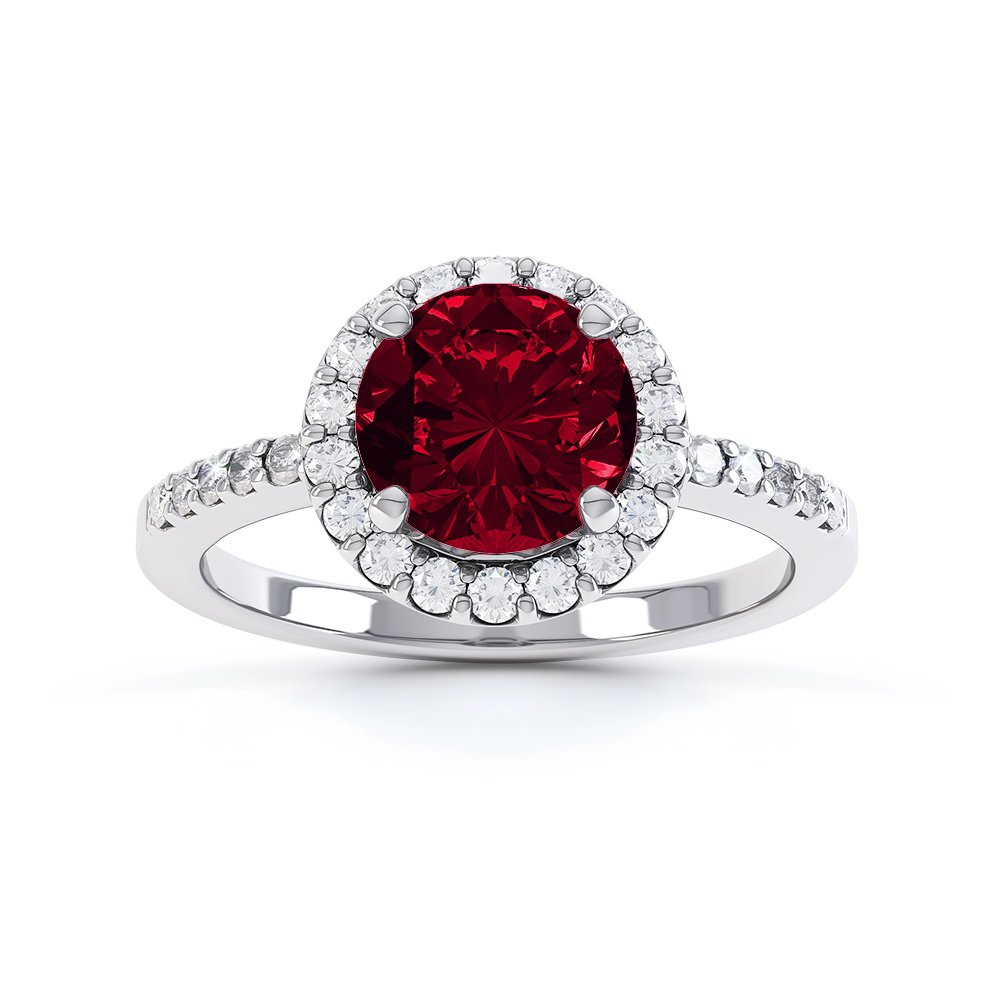 Halo 1ct Garnet Platinum plated Halo Silver Promise Ring