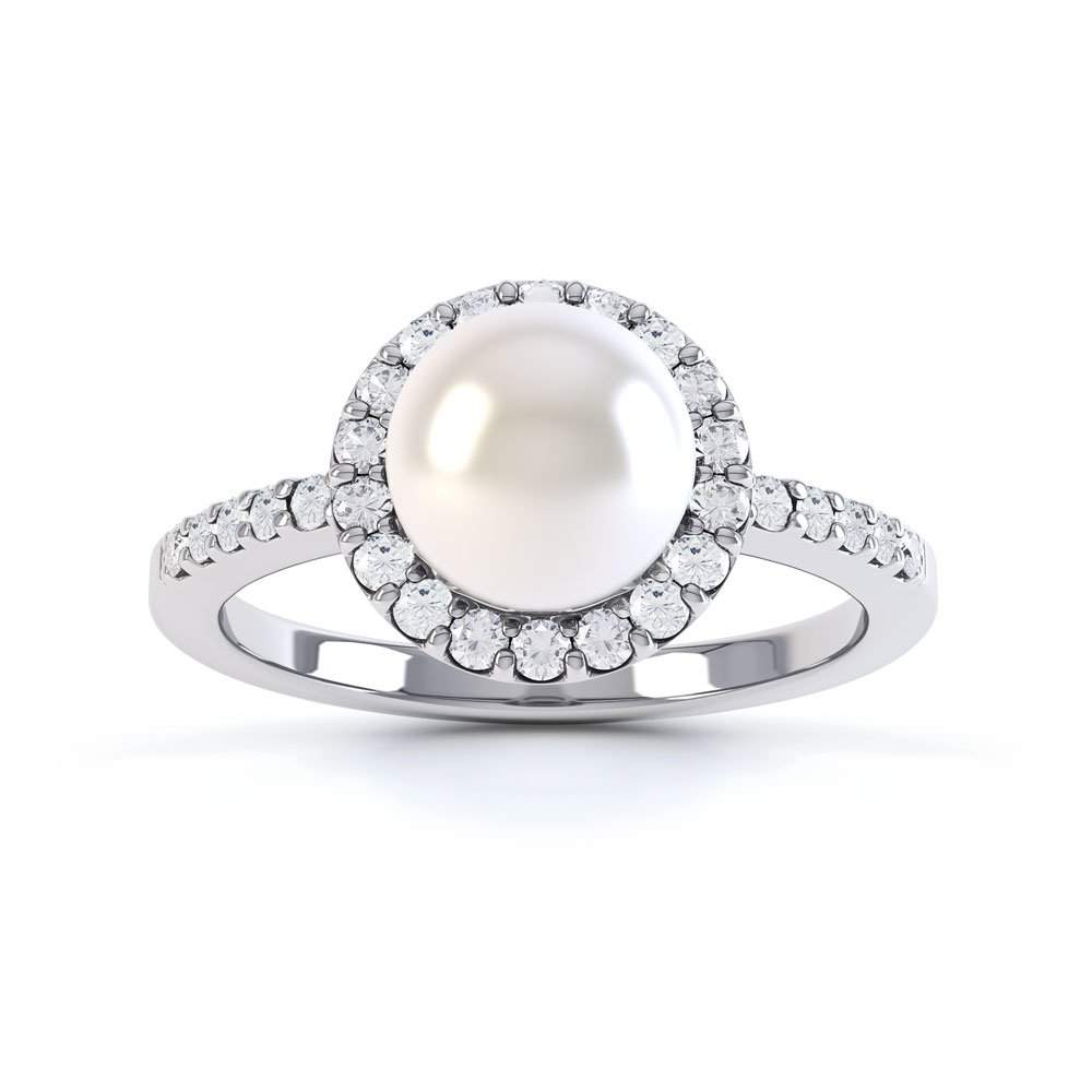 Venus Akoya Pearl and Diamond 18ct White Gold Halo Engagement Ring