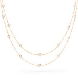 By the Yard White Sapphire 18ct Rose Gold Vermeil Necklace