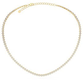 Infinity Diamond CZ 18ct Gold plated Silver Tennis Necklace