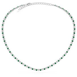 Infinity Emerald CZ Rhodium plated Silver Tennis Necklace