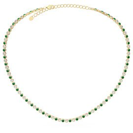 Infinity Emerald CZ 18ct Gold plated Silver Tennis Necklace