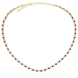 Infinity Ruby CZ 18ct Gold plated Silver Tennis Necklace