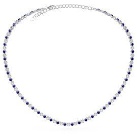 Infinity Sapphire CZ Rhodium plated Silver Tennis Necklace