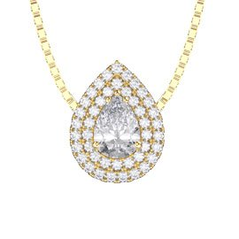 Fusion White Sapphire 18ct Yellow Gold Halo Pear Pendant