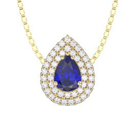 Fusion Sapphire 18ct Yellow Gold Halo Pear Pendant