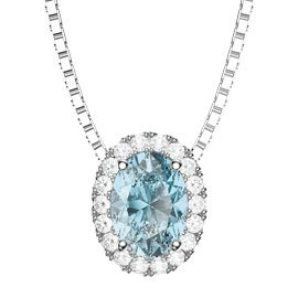 Eternity Aquamarine Platinum plated Silver Halo Oval Pendant
