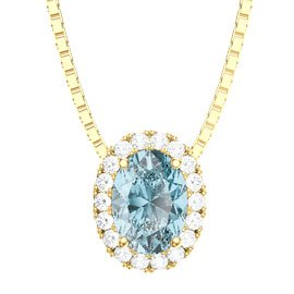 Eternity Aquamarine 18ct Gold Vermeil Halo Oval Pendant