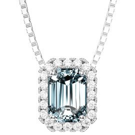 Princess Aquamarine 18ct White Gold Rectangle Pendant