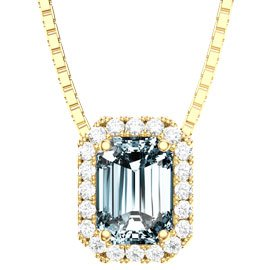 Princess Aquamarine and White Sapphire 18ct Yellow Gold  Rectangle Pendant