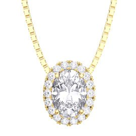 Eternity White Sapphire 18ct Gold Vermeil Halo Oval Pendant