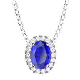Eternity Blue and White Sapphire Halo 18ct White Gold Oval Pendant