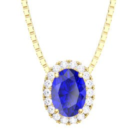 Eternity Blue and White Sapphire Halo 18ct Yellow Gold Oval Pendant