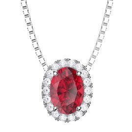 Eternity Ruby and White Sapphire Halo 18ct White Gold Oval Pendant