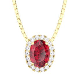 Eternity Ruby Halo 18ct Gold Vermeil Oval Pendant