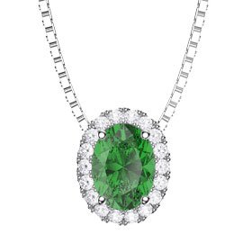 Eternity Emerald Halo Platinum plated Silver Oval Pendant