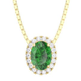 Eternity Emerald Halo 18ct Gold Vermeil Oval Pendant