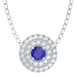 Fusion Blue and White Sapphire Halo Platinum plated Silver Pendant
