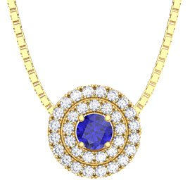 Fusion Blue Sapphire and Diamond 18ct Yellow Gold Pendant