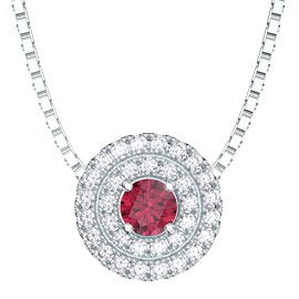 Fusion Ruby and Diamond Halo 18ct White Gold Pendant