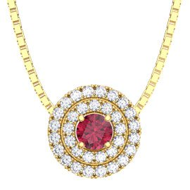 Fusion Ruby and Diamond Halo 18ct Yellow Gold Pendant