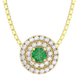 Fusion Emerald and Diamond 18ct Yellow Gold Halo Pendant