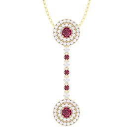 Fusion Ruby and White Sapphire Halo 18ct Yellow Gold Drop Pendant Set