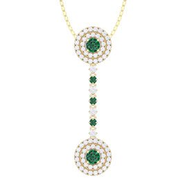 Fusion Emerald and White Sapphire Halo 18ct Yellow Gold Drop Pendant Set