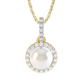 Venus Pearl and White Sapphire Halo Silver Pendant (YELLOW GOLD)
