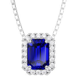 Princess 1ct Sapphire Platinum plated Silver Rectangle Pendant