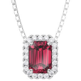 Princess 1ct Ruby Platinum plated Silver Rectangle Pendant