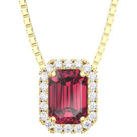 Princess 1ct Ruby 18ct Gold Vermeil Rectangle Pendant