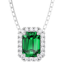 Princess 1ct Emerald Platinum plated Silver Rectangle Pendant