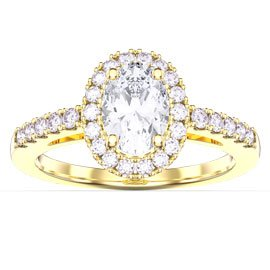 Eternity White Sapphire Oval Halo 18ct Yellow Gold Engagement Ring