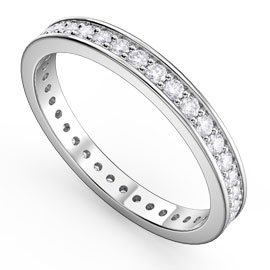 Promise White Sapphire 18ct White Gold Channel Full Eternity Ring