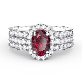 Eternity Ruby and White Sapphire Halo 18ct Gold Engagement Ring Set (OVAL 2D WHITE GOLD)