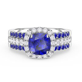 Princess Sapphire and Diamond Silver Promise Ring Set (2S CUSHION CUT WHITE GOLD)