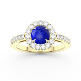 Lapis Halo 18ct Gold Vermeil Promise Ring