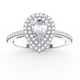 Fusion White Sapphire Pear Halo 18ct White Gold Engagement Ring
