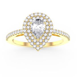Fusion White Sapphire Pear 18ct Yellow Gold Halo Engagement Ring