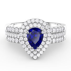 Fusion Sapphire Pear and Diamond Halo Silver Promise Ring Set (2D WHITE GOLD)