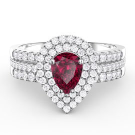 Fusion Ruby Pear and Diamond Halo Silver Promise Ring Set (2D WHITE GOLD)