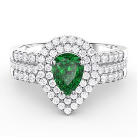 Fusion Emerald Pear and Diamond Halo Silver Promise Ring Set (2D WHITE GOLD)
