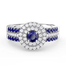 Fusion Sapphire and Diamond Halo Silver Promise Ring Set (2S WHITE GOLD)