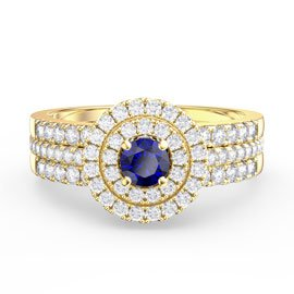Fusion Sapphire Halo 18ct Gold Vermeil Promise Sapphire Eternity Ring Set