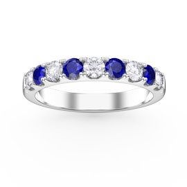 Promise Blue and White Sapphire 18ct White Gold Half Eternity 3mm Ring Band