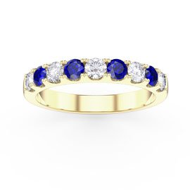 Promise Blue and White Sapphire 18ct Yellow Gold Half Eternity 3mm Ring Band