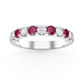 Promise Ruby and White Sapphire 18ct White Gold Half Eternity Ring 3mm BAND